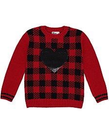 Toddler Girls Sequined Heart Long Sleeve Sweater