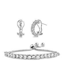 Sterling Silver CZ Huggie Tennis Bracelet Set (50% Off) -- Comparable Value $79.99