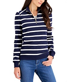 Petite Cotton Striped Zip-Neck Top, Created for Macy's