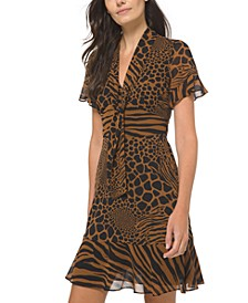Printed Tie-Neck Dress