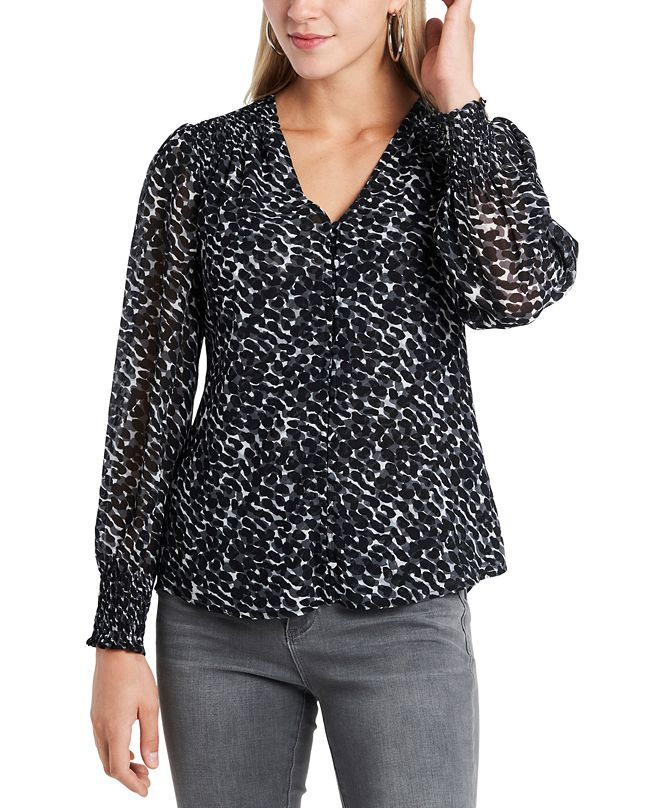 1.STATE Trendy Plus Size Animal-Print Blouse