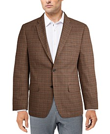 Men's Classic-Fit Ultraflex Stretch Brown Houndstooth Check Sport Coat