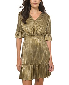 Metallic Flounce-Trim Dress