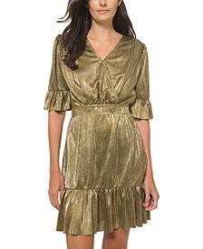 Michael Michael Kors Metallic Flounce-Trim Dress