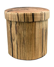 Foldable Printed Round Tree Stump Storage Ottoman