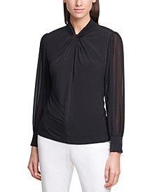 Sheer-Sleeve Twist-Neck Top