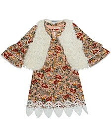 Little Girl Printed Yummy Dress With Fur Vest