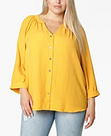 Women's Plus Size 3/4 Sleeve Shirred Neck Button Front Blouse