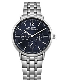 Men's Silver-Tone Stainless Steel Multifunction Watch, 40mm