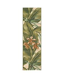 "Liora Manne Marina Tropical Leaf Cream 1'11"" x 7'6"" Runner Rug"
