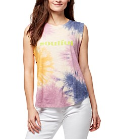 Jayden Tie-Dyed Tulip-Back Graphic Top