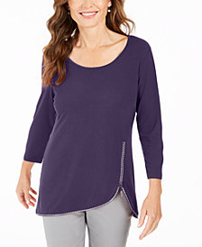 JM Collection Plus Size Rhinestone-Trim 3/4-Sleeve Top, Created for Macy's