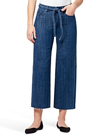 Braided-Belt Wide-Leg Raw-Hem Jeans