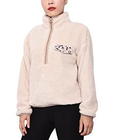 Juniors' Quarter-Zip Sherpa Pullover Sweatshirt
