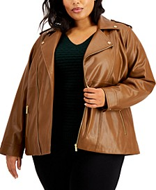 Plus Size Faux Leather Motorcycle Jacket