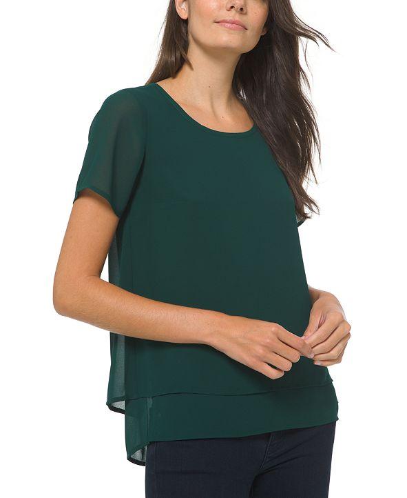 Michael Kors Short-Sleeve Layered-Look Top, Regular & Petite Sizes