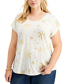 Plus Size Glitter-Print T-Shirt, Created for Macy's