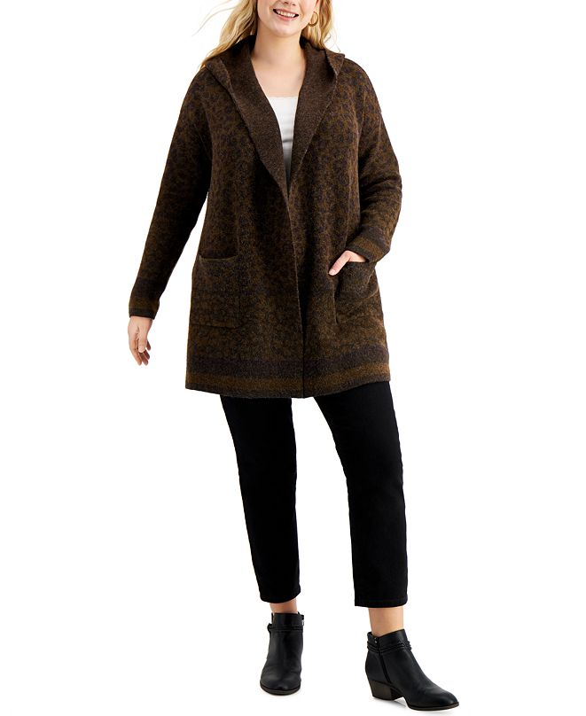 Style & Co Plus Size Printed Hooded Open-Front Sweater, Created for Macy's