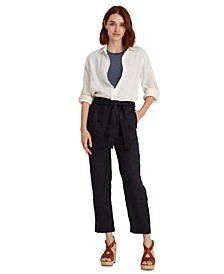 Belted Linen Pants