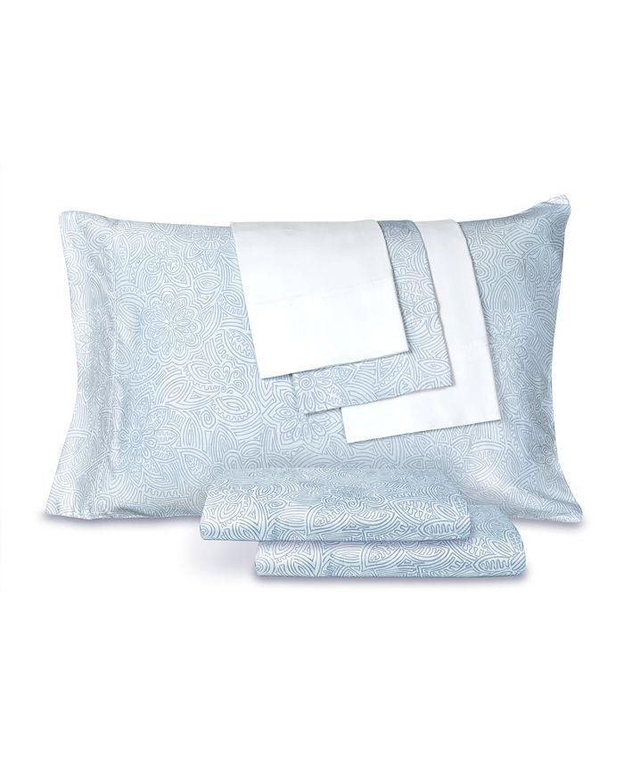 AQ Textiles - T300 Cotton Blend 6 pc Print Queen Size Sheet Set