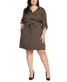 Plus Size Tie-Waist Shirtdress