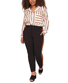 Plus Size Contrast Side-Stripe Pants