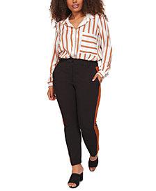 Black Tape Plus Size Contrast Side-Stripe Pants