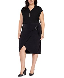 Plus Size Faux-Wrap Pencil Skirt