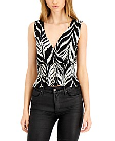 Abstract-Stripe Smocked Sleeveless Blouse, Created for Macy's