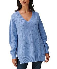 Drop-Sleeve Braided-Stitch Sweater
