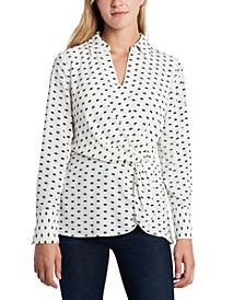 Petite Printed Twist-Front Faux-Wrap Top