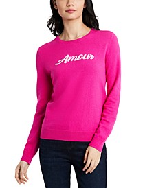 Amour Embroidered Sweater, Created For Macy's