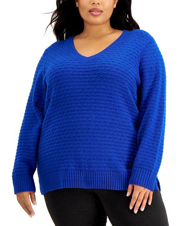 Calvin Klein Plus Size Textured V-Neck Sweater