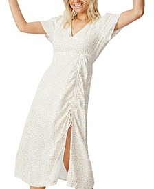 Woven Imogen Ruched Side Midi Dress