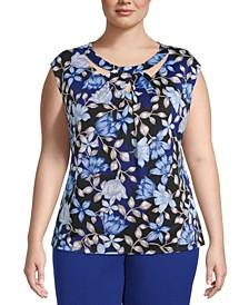 Plus Size Floral-Print Twist-Neck Top