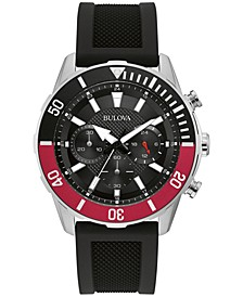 Men's Chronograph Black Silicone Strap Watch 44mm