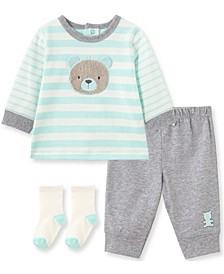 Little  Me Baby Boy Bear Jogger Set and Sock