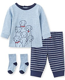 Little  Me Baby Boy  Puppy Jogger Set and Sock
