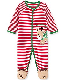 Little  Me Baby Boy and Girl Reindeer Stripe Footie