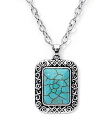 Simulated Turquoise in Fine Silver Plated Rectangular Pendant Necklace