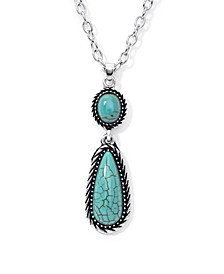Simulated Turquoise in Fine Silver Plated Teardrop Pendant Necklace