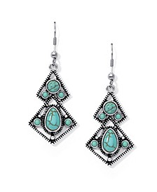 Simulated Turquoise in Fine Silver Plated Diagonal Wire Earrings