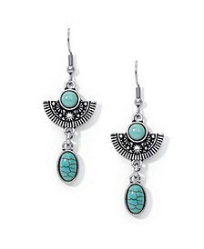 Simulated Turquoise in Fine Silver Plated Fan Oval Drop Wire Earrings