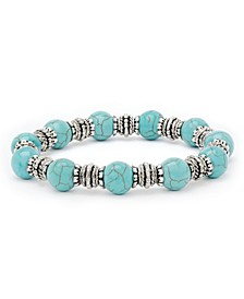 Simulated Turquoise in Fine Silver Plated 10mm Round Stretch Bracelet