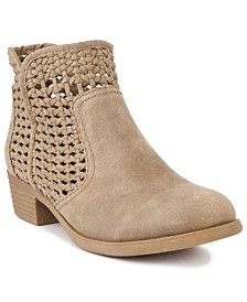 Women's Ticking Woven Ankle Booties