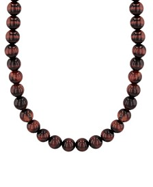 Men's Red Tiger's Eye Bead Necklace in .925 Sterling Silver