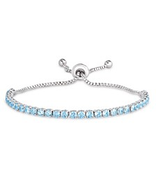 Simulated Blue Topaz Line Adjustable Bracelet in Fine Silver Plate