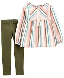 Baby Girl 2-Piece Striped Linen Top & Legging Set