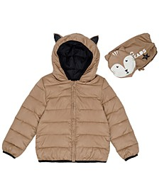 Toddler Boys Fox Hooded Full Zip Packable Jacket with Matching Bag