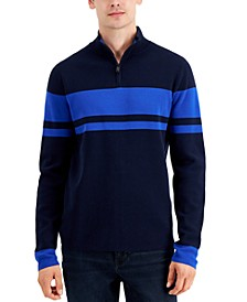 Men's Quarter-Zip Striped Sweater, Created for Macy's